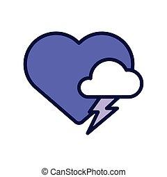 nube, línea, corazón, estilo, tormenta