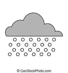 nube, lluvia, icono
