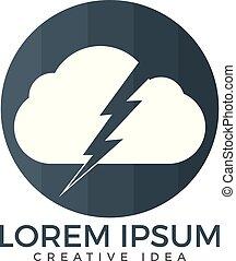 nube, logotipo, trueno, design.