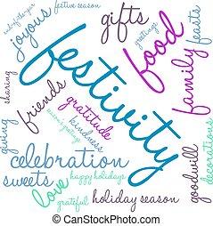 nube, palabra, festividad