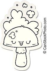 nube, pegatina, spoor, hongo, caricatura