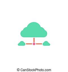 nube, red, icono, vector