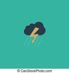 nube, relámpago, tormenta, lluvia, icono