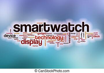 nube, resumen, palabra, plano de fondo, smartwatch