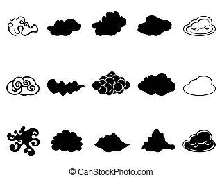 nube, símbolo, iconos, conjunto