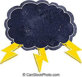 nube, símbolo, perno, caricatura, relámpago