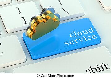 nube, servic, en, azul, teclado, botón