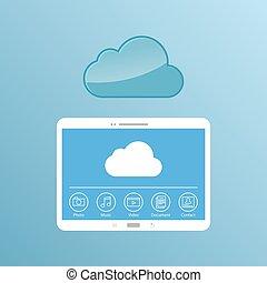 nube, service., concepto, diseño, de, el, tableta, almacenamiento, files.