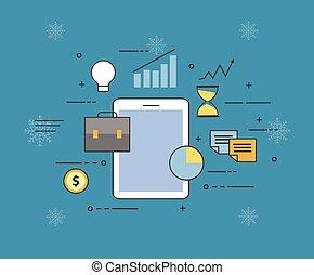nube, smartphone., todos adentro, su, dispositivo, o, en, nube, almacenamiento, en, invierno, plano de fondo