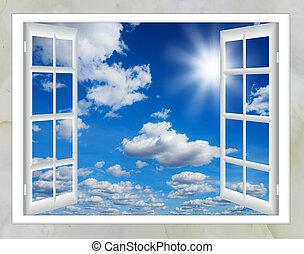 nube, sol, ventana, abierto
