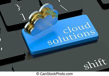 nube, soluciones, en, azul, teclado, botón