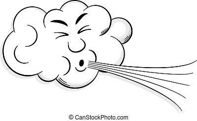 nube, sopla, caricatura, viento