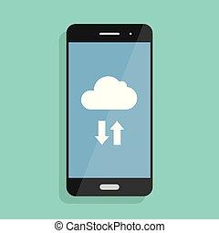 nube, storage., nube, icono, en, smartphone, pantalla