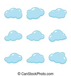 nube, vector, icons.