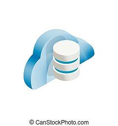 nube, y, datos el almacenamiento, icono, isométrico, 3d, estilo