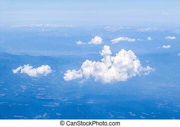 nubes, alpes, encima, avión, europeo, vista