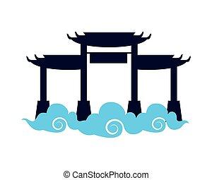 nubes, arquitectura, monumentos, japonés, archs