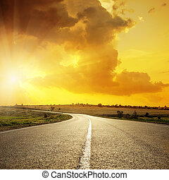 nubes, asfalto, encima, ocaso, naranja, camino