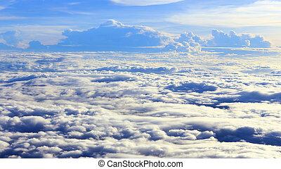 nubes, avión, cielo, vista