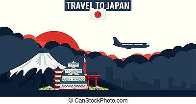 nubes, banner., sol, viaje, fondo., japan., avión, turismo