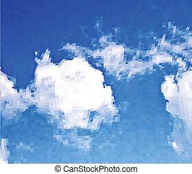nubes blancas, en, el, azul, sky., vector, mosaico, plano de fondo
