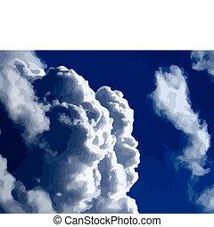nubes blancas, en, un, azul, sky., vector