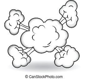 nubes, cómico, vector, explosión