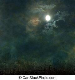 nubes, cementerio, fantasmal, halloween, luna, oscuridad, ...