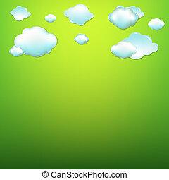nubes, con, fondo verde