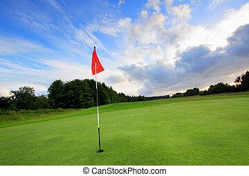 nubes, curso, asombroso, golf