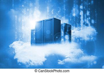 nubes, datos, azul, descansar, servidores
