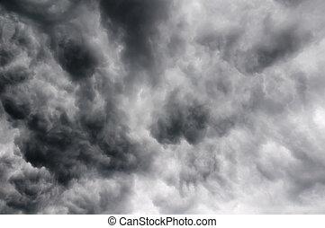 nubes de la tormenta, en, el, cielo