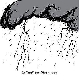 nubes, destellos, rayo, tormenta, gotas de lluvia