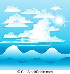 nubes, en, cielo azul