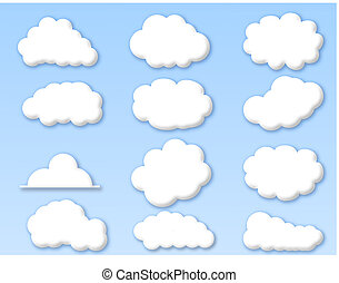 nubes, en, nublado, cielo azul
