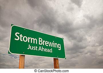 nubes, encima, industria cervecera, señal, verde, tormenta, camino