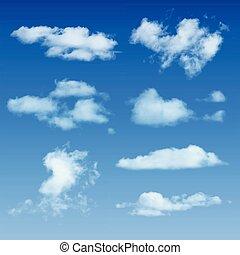 nubes, formas, en, cielo azul, plano de fondo