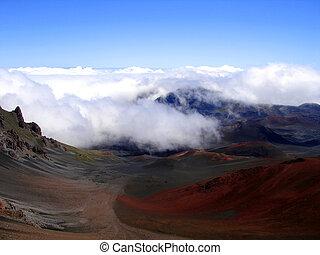 nubes, haleakala, hawai, cráter, rodante, maui