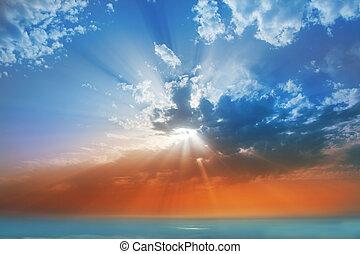 nubes, la, encima, cielo, neblina, ocaso, mar, palma