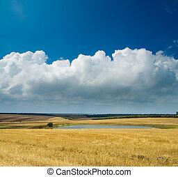 nubes, locality, plano de fondo, rural, charca, vista