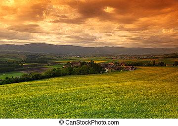 nubes, pradera, cielo, verde, debajo, ocaso