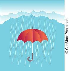 nubes, primavera, cielo, lluvia, umbrella.vector, rojo