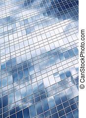 nubes, reflexión, en, edificio de oficinas