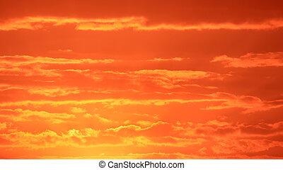 nubes, rojo, salida del sol