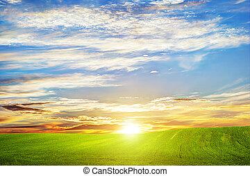 nubes, romántico, verde, pasto o césped, paisaje, ocaso