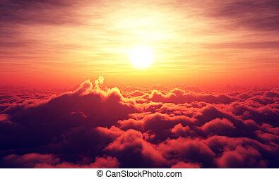 nubes, salida del sol, sobre