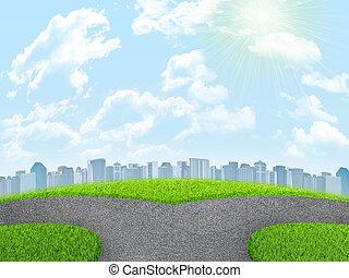nubes, tenedor, campo de cielo, verde, city., pasto o césped, camino