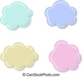 nubes, vector, conjunto, textured