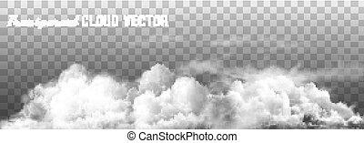 nubes, vector, en, transparente, fondo.