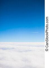 nubes, vuelo, sobre, portilla, avión, vista